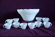 Anchor Hocking white punch bowl cups glass 11 pcs grapes