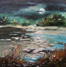 ORIGINAL Moon Landscape OIL Painting  JMW Art John Williams Impressionism