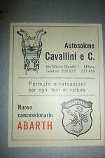 ADVERTISING PUBBLICITA'  autosalone cavallini ABARTH  -- 1964 (pc)