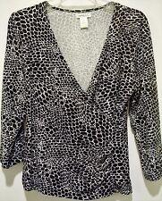Harolds 3/4 Sleeve Black/White Snakeskin Print Crossover Knit Top Size M Medium