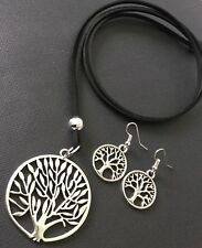 Long Black Suede Necklace With Tree Of Life Pendant Lagenlook And Earrings