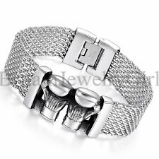 "8.9"" Mens Stainless Steel Double Boxing Glove Wide Biker Bangle Bracelet*19MM"