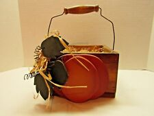 Primitive Decorative Wooden Pumpkin Box Fall Autumn Leaves Handle Thanksgiving