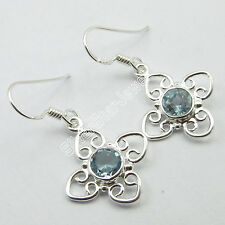 """BLUE TOPAZ Earrings Pair !! 925 Pure Silver FACTORY PRICE Jewelry 1.3"""" 3 Grams"""