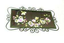 Decorative Mirror Stained Glass Floral Flowers Metal Trim Frame Wall Decor