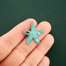 2 Starfish Charms Antique Bronze Tone with Faux Patina and Rhinestones - BC1701