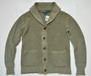 New Polo Ralph Lauren Men's Chunky Rib-Knit Cotton Sweater Shawl Cardigan