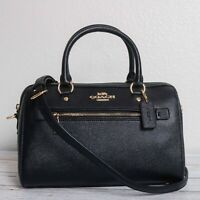 NWT Coach F79946 Rowan Satchel Bag in Crossgrain Leather Black
