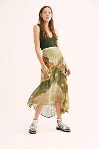 Free People Da-Nang Patchwork Maxi Long Green Silk Skirt Size XS NEW