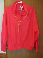 Speedo Nylon Front Zip Windbreaker Jacket  Womens small petite neon salmon  S/P