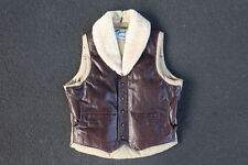 Vintage Schott NYC Leather Down Vest Size 42 Made in USA Brown Winter Jacket