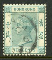 China 1882 Hong Kong 10¢ Blue Green QV Wmk CCA Scott 43a VFU K463 ✔️