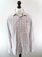 CREW CLOTHING Mens Shirt L Large White Blue Orange Check Cotton Slim Fit