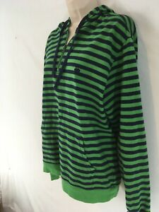 Brooks Brothers 346 Womens L Green Navy Stripe Sailors Hoodie Pullover Shirt