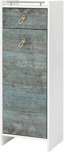 Highboard Schrank weiß Glanz/ Patina Breite: 40 cm Hoch 114 cm
