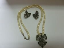 Vintage Avon String of Faux Pearls Marcasite Bow Pendant Necklace & Earrings