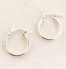 VINTAGE OLD STOCK Sterling Silver Hinged 14mm Hoop Small Creole Earrings Plain
