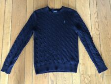 POLO Ralph Lauren Navy Cotton Cable Knit Sweater Small NWOT