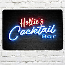 Personalised Cocktail Bar Blue Neon effect retro 80's effect Party Metal Sign