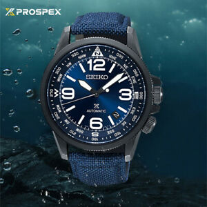 Orologio Seiko impermeabile di lusso con cinturino in tela blu