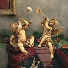 Trumpeting Angels Of St. Peter's Square Design Toscano Cherubs Faux Gold Finish