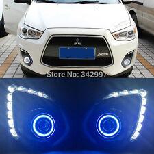 2x LED DRL Daytime Fog Light+angel eyes kit For Mitsubishi Outlander ASX 2013-15