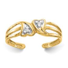 Ladies Modern 14K Yellow Gold & White Diamond Double Heart Toe Ring