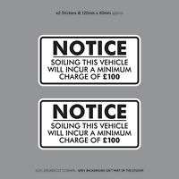 Minimum Soiling Charge £100 Sticker Ideal For Taxi Coach Bus Minibus - SKU3130