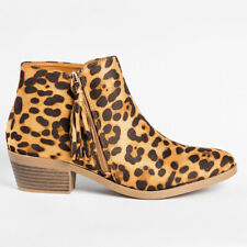 Women Ankle Tasseled Zipper Low Heel Casual Boots Ladies Booties Shoes Size 6-9