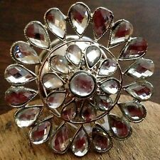 Pretty Silver Flower Shaped Knob/Pull W/Clear Glass Crystals~Add Some Bling!!