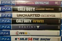 PS4 7 Game Used Lot Uncharted Collection Call of Duty x2 MLB 14 Destiny Trover