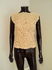 Bernard Perris true vintage couture designer silk crochet lace top blouse beige
