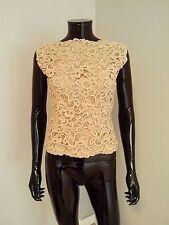 Bernard Perris true vintage couture designer silk crochet lace top blouse beige