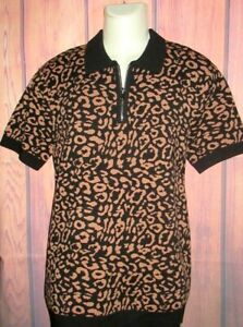 MENS FOREVER 21 CHEETAH LEOPARD ANIMAL PRINT ZIP POLO SHIRT SIZE M
