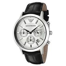 AR2432 Emporio Armani Mens Classic Chronograph Watch on Black Leather Strap SALE