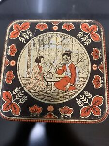 Vintage Tin, Tea/sweet Caddy With Chinese Design