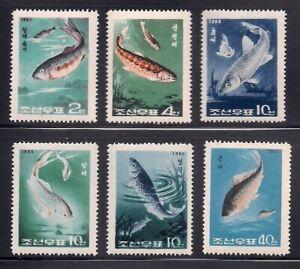 Korea..  1965  Sc # 616-21  Fishes   MNH  OG   (3-3110)
