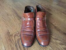 Men's Vintage Florsheim Imperial Beatle Boots Size 12 B Brown Leather Monk Strap