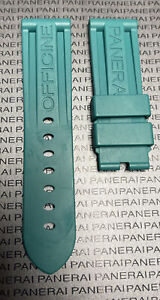 PANERAI OEM 24MM Turquoise Green Rubber Strap for Tang Buckle