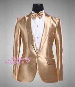 Mens One Button Gold Jacket Wedding Blazers Tuxedo Suit Dance Coats Jacket&Pants