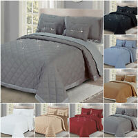 5 Piece Diamond Bedspread Quilted Bed Throw Bedding Comforter Set & Pillow Shams