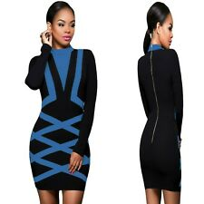 Sz 12 14 Black Blue Long Sleeve Formal Prom Cocktail Party Slim Mini Dress
