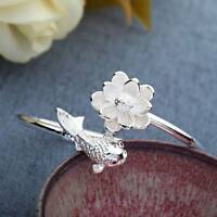 Women Jewelry Silver Plated Lotus flower Fish Opening Cuff Bangle Bracelet Gifts
