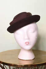 7ab3e6c57e9dc Vintage Merrimac Cap Hat Brown Small Bow Back Wool 30s 40s Pinup Rockabilly  VLV