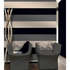 Stripe Wallpaper Bold 3 Colour Pattern Textured Black Silver Cream