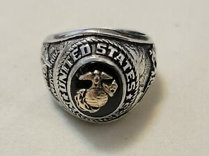 Vintage Crest Craft United States Marines Sterling Silver Gold Emblem Onyx Men's