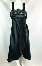 val mode women's nightgown lingerie size large black lace satiny sexy long