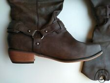 New Women's Leather Harness Motorcycle Boots Mid Calf Brown Size 8.5
