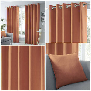 Fusion Spice Orange SORBONNE 100% Cotton Lined Eyelet Ring Top Curtains Pair