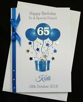 PERSONALISED Handmade A5 BIRTHDAY Card PARTY BALLOONS - ANY AGE  (1596)